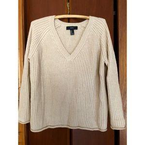 F21 Tan V Neck Sweater